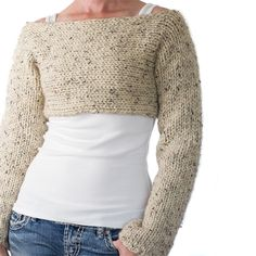 807bf14eaabf71 Super easy crop top sweater knitting pattern!