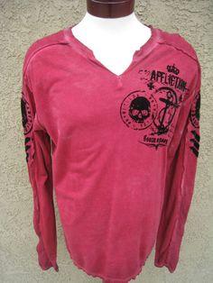 AFFLICTION Long Sleeve T-Shirt Shirt Burgundy Black Flocking M NEW Skull Anchor