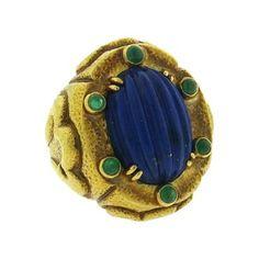 Large David Webb 18k Gold Carved Lapis Emerald Ring