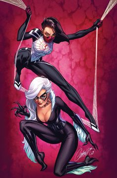 Scott Campbell featuring beloved characters such as Spider-Man, MJ, Black Cat and many more. Heros Comics, Marvel Dc Comics, Marvel Heroes, Marvel Characters, Marvel Emoji, Captain Marvel, Marvel Women, Marvel Girls, Comics Girls