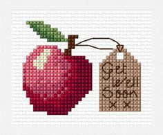 An Apple A Day cross stitch chart PDF get well by clairecrompton