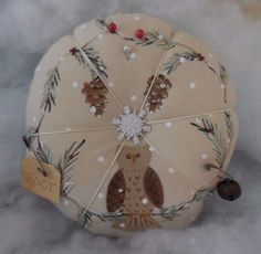 Primitive Winter OWL Pin Keep Painted Ornament Pine Cone Wreath Pin Cushion   #NaivePrimitive #auntiemeowsatticprims