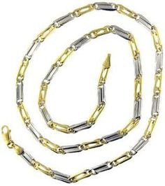 14 Kt Yellow White Gold 20 Inch Mens Link Chain Gold Necklace For Men 07e90b5dec
