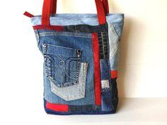 big denim eco bag, blue jeans bag, vegan denim crazy quilt tote, upcycled denim tote, denim bag, one of a kind bag, unique bag, hipster bag