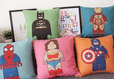 Lego American Heroes Pillows, Ironman, Batman, Superman, Spiderman   lego superhero pillows