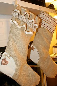 Burlap His and Her Stockings by ACountrykindofLove on Etsy, $80.00