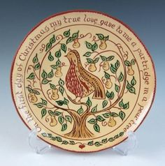 Long Pennsylvania Redware Christmas Plate Partridge Pear Tree Sgraffito Folk Art