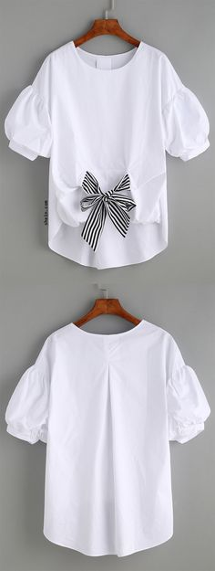 Self-tie Front Puff Sleeve Blouse Korean Fashion, Kids Fashion, Diy Clothes, Clothes For Women, White Shirts, Refashion, Blouse Designs, Fashion Dresses, Cute Outfits