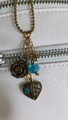 Handmade purse charm / bronze flower charm / by CharmsAnTreasures, $15.00