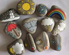 Weather story stones by TellMeAStoryCrafts on Etsy Pebble Painting, Pebble Art, Stone Painting, Story Stones, 12 Stones, Rock Crafts, Diy And Crafts, Arts And Crafts, Diy For Kids