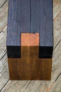 Shou sugi ban modern rustic wood bench - All For Lamp İdeas Long Wood Table, Rustic Wood Bench, Rustic Stools, Rustic Wood Furniture, Reclaimed Wood Wall Art, Rustic Wood Walls, Reclaimed Wood Benches, Diy Design, Design Art