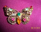 SALE...Czechoslavakia Rhinestone Filigree Butterfly Signed Brooch