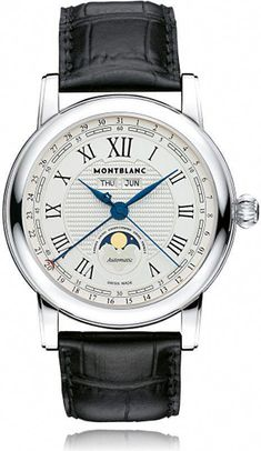 41c05862eea6 Montblanc 108736 Star stainless steel and leather moonphase watch   beautifulwatches
