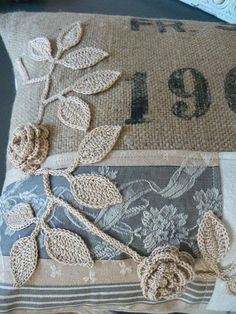 Crochet flowers on burlap pillow Burlap Projects, Burlap Crafts, Crochet Projects, Sewing Projects, Burlap Pillows, Sewing Pillows, Decorative Pillows, Fabric Art, Fabric Crafts