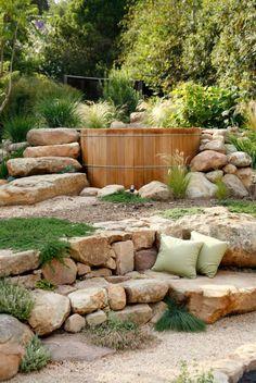 Sloped Backyard Landscaping, Backyard Patio, Landscaping Ideas, Landscaping Edging, Backyard Seating, Backyard Ideas, Sloped Yard, Garden Stones, Amazing Gardens