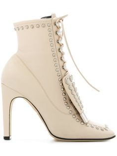 Shop Sergio Rossi |studded lace-up ankle boots.#high fashion