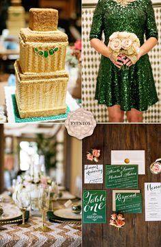 emerald wedding - emerald decor - emerald dress - emerald and champagne - www.lapapeteriediva.com.br