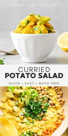 Vegan Potato Salads, Healthy Vegan Snacks, Vegan Foods, Vegan Recipes Easy, Vegetarian Recipes, Curry Potato Salad Recipe, Gf Recipes, Vegan Vegetarian, Cake Recipes