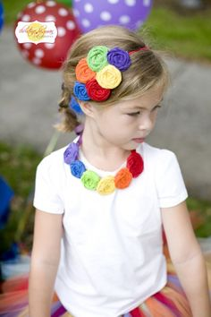 Rainbow Birthday Party headband & necklace by birdie baby boutique