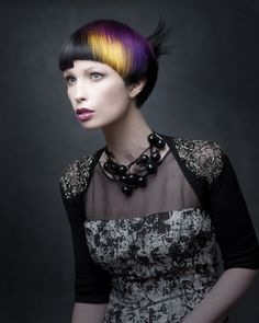Meet the NAHA finalist Silas Tsang, short hair, black hair, purple, yellow, bangs, competition, NAHA, back Updo