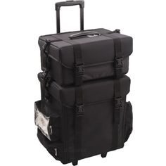 2-in-1 Nylon Soft Sided Professional Rolling Makeup Case with Drawers and Side Pockets, All Black ** More info could be found at the image url. (This is an affiliate link) #ToolsAccessories