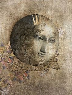 Gabriel Pacheco ~ Rabbit and Moon ~ There eternal and sleepwalking. A rabbit looks