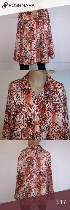 """ELEMENTZ Shirt Blouse Plus 2X Animal Print Button Elementz plus size 2X shirt front buttons long sleeves with roll up sleeve tabs light stretch animal print 5"""" side slits two front pockets  97%  polyester  3% spandex machine wash  bust  50"""" length 28"""" sleeve length  23 3/4""""  very nice Elementz Tops Blouses"""