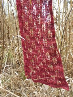 Falling Leaves Handknit Lace Scarf by Somewhen on Etsy