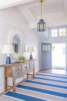 Beach house escape into the blue with interior designer Lauren LeonardInterior designer Molly Freys Coastal Blue Beach HousesAustralian Coastal Style - 7 Steps To Achieve This Look - Make Your Home BeautifulThe color palette for Beach Cottage Style, Coastal Cottage, Beach House Decor, Coastal Style, Coastal Decor, Coastal Rugs, Coastal Interior, Beach House Interiors, Blue Home Decor