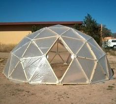 Dome made using plastic connectors. This page has tons of connectors for diy tents/sheds etc.