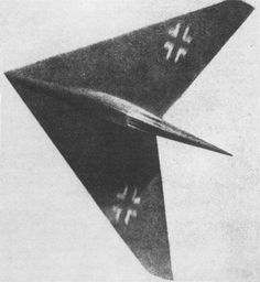 The Horten XIII-B was a proposal for a supersonic flying wing fighter the wings were swept back at 60 degrees and power was to be supplied by a single BMW 003R rocket/Turbojet combination in which the rocket engine was to be used for short periods of emergency high speed action Speed :1120mph Range: 880mi Altitude :45800ft Armament 2x mg 213 -30mm revolver canon