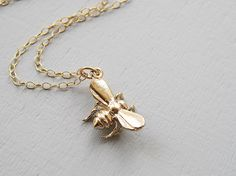 Bee necklace gold filled chain small gold bumblebee by sevenstarz, $21.00