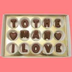 Anniversary Valentines Day Gift for Husband Boyfriend Him BF To The Man I Love Large Milk Chocolate Letters Made to Order