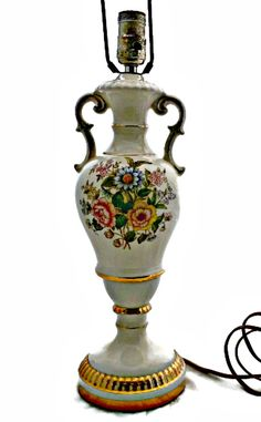 Double Handle Urn Lamp Large Table Lamp Floral by EclecticVintager