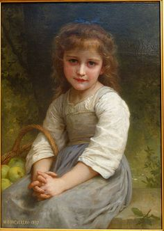 Bambina con cesta di mele di William-Adolphe Bouguereau