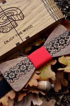 Engraved Wooden Bow tie Pattern Custom bow tie by EnjoyTheWood