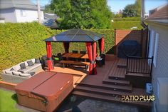 Patio Plus - Wooden Deck Backyard Covered Patios, Backyard Patio Designs, Pergola Patio, Gazebo, Patio Plus, Whirlpool Deck, New Patio Ideas, Hot Tub Deck, Wooden Patios