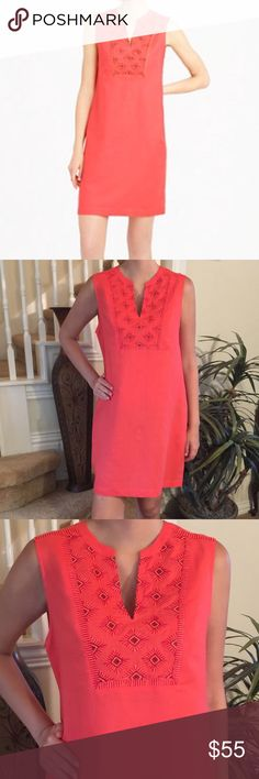 J. Crew Sunburst dress This J. Crew Sunburst is adorable! It features gorgeous embroidered yoke, zip up the back, in a gorgeous pale red color and is a Linen/cotton blend J. Crew Dresses