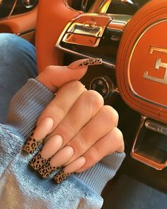 Jenner leopard french nails ❤️ 75 Trendy Nail Designs In 2019 Frensh Nails, Kylie Jenner Nails, Swag Nails, Hair And Nails, Glitter Nails, Coffin Nails Designs Kylie Jenner, Leopard Print Nails, Cheetah Nail Designs, Long Nail Designs
