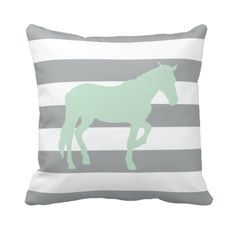 Our custom horsethrow pillow with rugby stripes is perfect for your bedroom or dorm room. You can customize it in any of the colors from our palette or order it in the mint and grey combo shown.  Perfect for boys and girls equestrian themed rooms.
