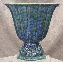 "Fabulous Cowan Pottery Large Seahorse Fan Vase Ca. 1926, ""Columbine"" Glaze"