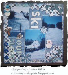 Cricut Inspired Scrapbook Layouts: Ski scrapbook layout