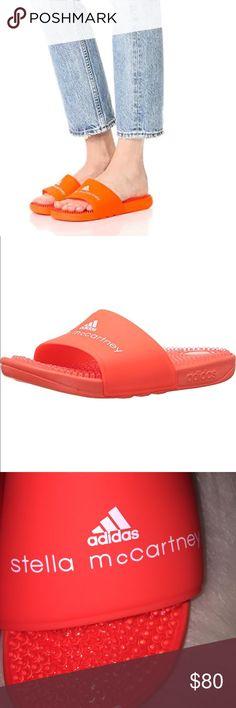 Stella McCartney adidas Slides  orange sz 9 NWT adidas by Stella McCartney Women's Recovery fluoresce orange Slides. NWT Size 9 Massaging nub covered footbed Logo on strap Rubber sole Stella McCartney Shoes