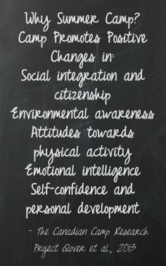 Why Summer Camp?  CAMP PROMOTES POSITIVE CHANGES IN: Social integration and citizenship Environmental awareness Attitudes towards physical activity Emotional intelligence Self-confidence and personal development  The Canadian Camp Research Project Glover et al., 2013