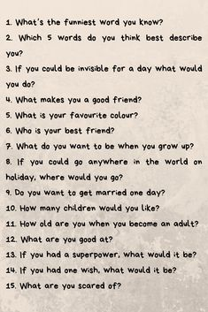 If you& looking for something entertaining to do with your children, try these fun questions to ask your kids. Fun Questions To Ask, This Or That Questions, Slam Book Questions, Interesting Questions To Ask, Questions For Friends, Random Questions, Funny Questions, Question Game, Deep Questions
