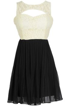 Pretty and Pleated Lace Dress in Ivory/Black
