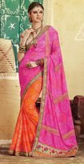 Lush Orange and Cherry Pink Bandhani Saree  https://www.ethanica.com/products/lush-orange-and-cherry-pink-bandhani-saree