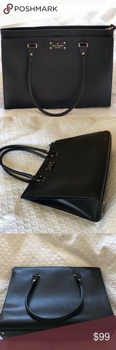 Gorgeous Authentic Kate Spade NY Bag The perfect carry all or chic work bag! Black leather with gold hardware. Two main compartments- one large zipper compartment with 3 smaller pockets inside and another large compartment with magnet closure. Very clean and used only a few times. Excellent condition with no noticeable scuffs or wear.. looks brand new! Only selling because I bought a new work bag. Approx 11.5 inches tall, 15 inches wide. Handle drop approx 10 inches. Don't miss out on this…