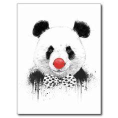 Clown panda postcard