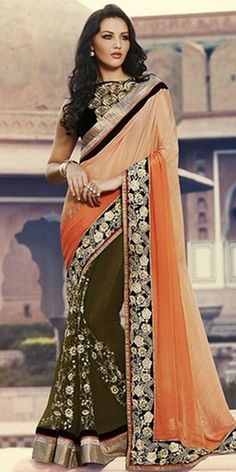 Cheerful Green And Orange Georgette Saree With Blouse.